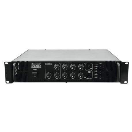 AMPLIFICADOR OMNITRONIC 100V 250W 6 ZONAS USB 2 MIC 3 LINE